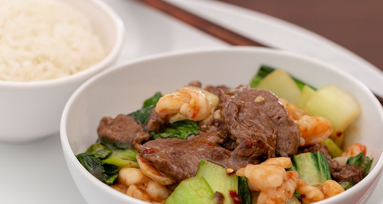 Spicy Shrimp and Steak with Bok Choy